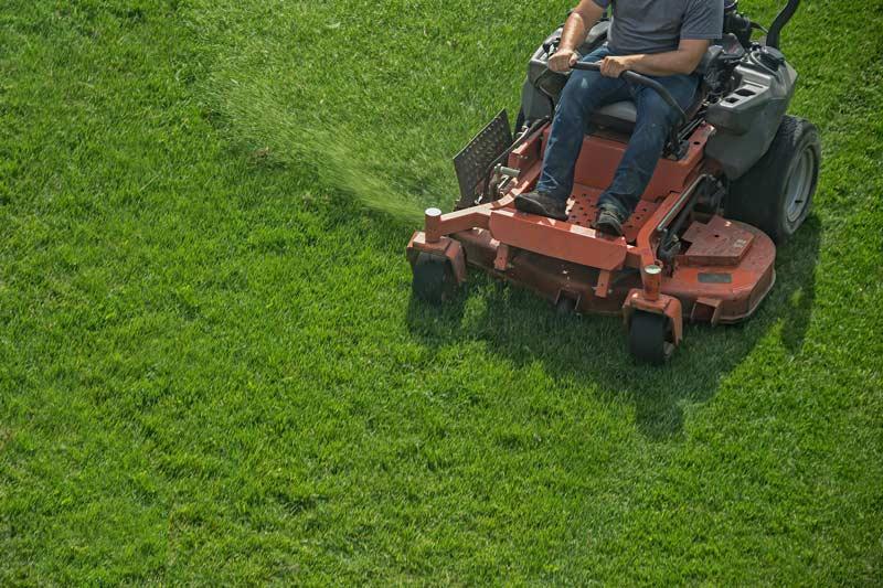 a man on a riding mower cutting grass