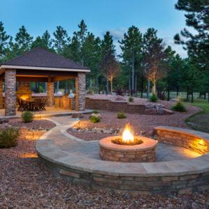 backyard firepit and patio