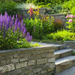 retaining wall with landscaping