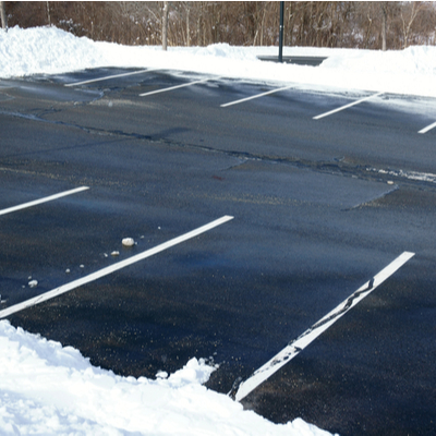 parking lot with snow cleared