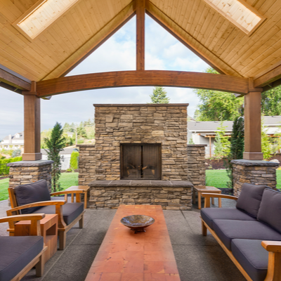 outdoor fireplace with covered seating